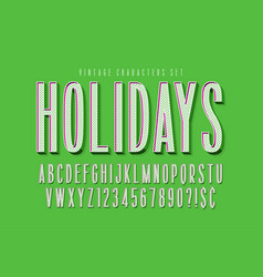 condensed comical 3d display font design alphabet vector image