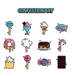 Confectionary cartoon concept icons vector