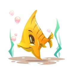 Cute cartoon yellow fish on the sea bottom vector