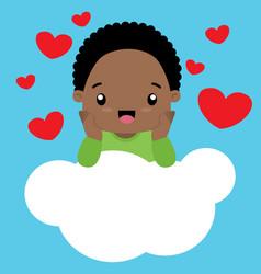 cute little black boy in love sitting on a cloud vector image