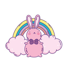 Cute rabbit with bow tie and rainbow clouds vector