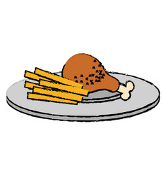 dish with chicken thigh and french fries vector image