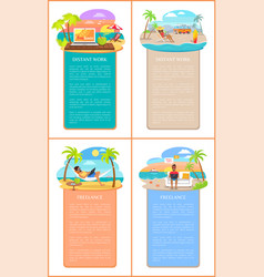 distant work and freelance commercial banners set vector image