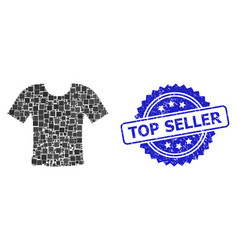 Distress top seller stamp and square dot collage vector