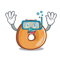 Diving bagels character cartoon style vector