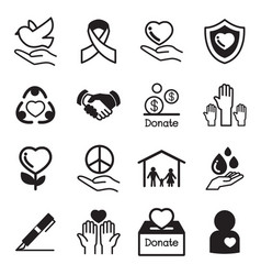 donate and charity basic icons set vector image