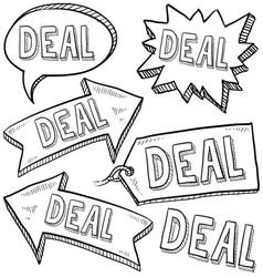 doodle label tag deal vector image