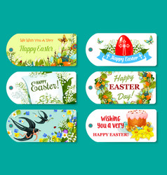 Easter greeting tag and label set for gift design vector