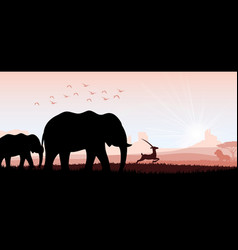 Elephant family with deer and birds vector