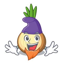 Elf character fresh yellow onion on table vector