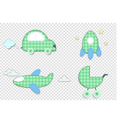 Fabric or paper plaid green stickers of car vector