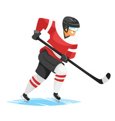 flat style of hockey player vector image