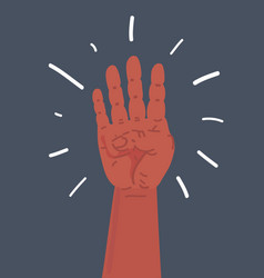 four fingers gesture on dark vector image