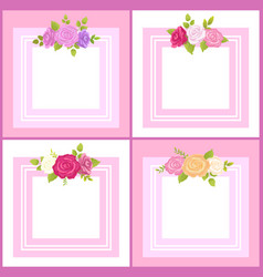four frames with decorative flowers color banner vector image