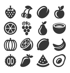 fruits icons set on white background vector image