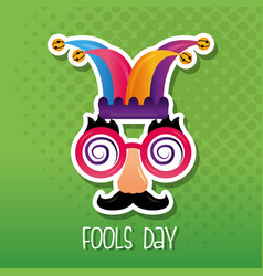 Funny mask jester hat fool day vector