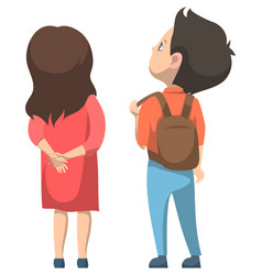 girl and boy standing together back to school vector image