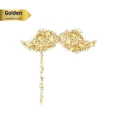 Gold glitter icon of mustache isolated on vector