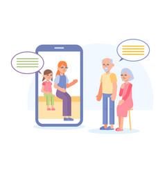 Grandparents make video call with smartphone vector