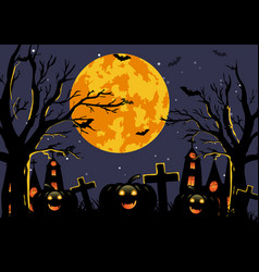 Halloween background with haunted house pumpkin vector