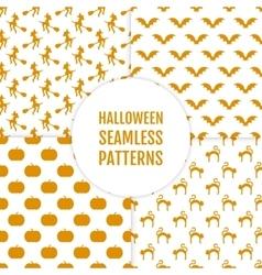 happy halloween set seamless patterns vector image