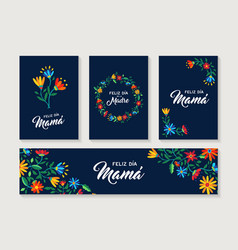 Happy mother day spanish flower greeting card set vector