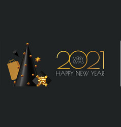 happy new 2021 year and merry christmas banner 3d vector image