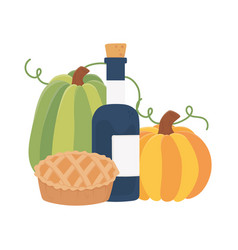 Happy thanksgiving day cake pumpkins and wine vector