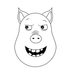 head of malevolent pig in outline style kawaii vector image