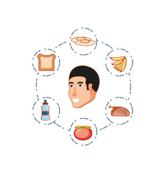 head of young man with set icons vector image