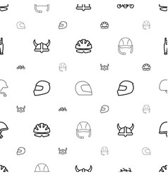 helmet icons pattern seamless white background vector image