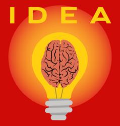 idea lighting up human brain like a light vector image