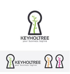 Keyhole tree logo design vector