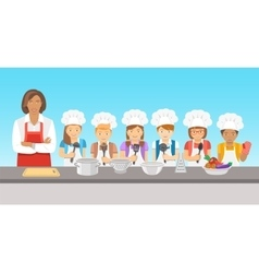 Kids cooking class flat vector image