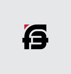 Letter f and number 3 - logo monogram or logotype vector