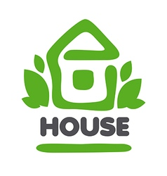 logo green house and leaves vector image