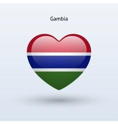 Love Gambia symbol Heart flag icon vector