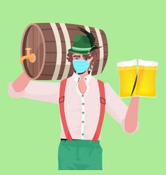 Man in medical mask holding beer mugs and barrel vector