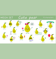 mega set of fifteen pears a green character in vector image
