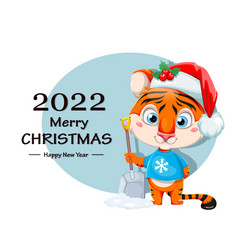 Merry christmas cute tiger in holding snow shovel vector