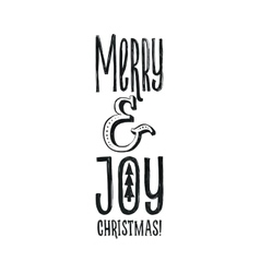 Merry Christmas Retro Poster Black and vector image