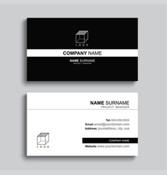 Minimal business card print template design black vector