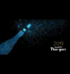 new year 2019 blue glitter champagne bottle card vector image