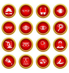 Ophthalmologist tools icon red circle set vector
