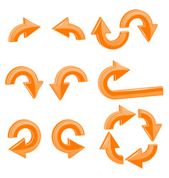orange arrows 3d shiny icons set vector image