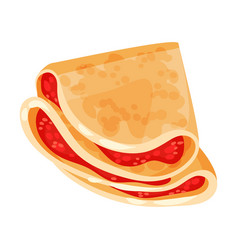Pancake with red filling on vector