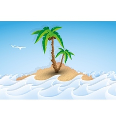 Paper tropical island with palm tree vector