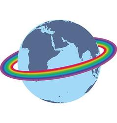 Rainbow around the earth vector