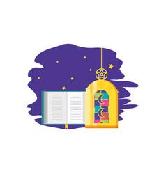 Ramadan kareem lamp with koran book vector