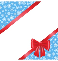 Red bow and ribbon and blue background with vector image